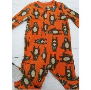 Carter's Pajamas - NWOT Carter's Boys Orange Bear Fishing Footed PJ's